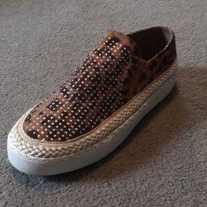 Volatile Bandwagon Leopard And Crystal Slip On Sneakers!! NIB!!!